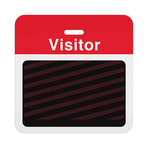 "Slotted expiring badge back with printed red ""VISITOR"" bar"
