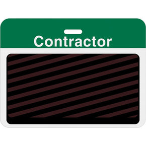 "Large slotted expiring badge back with printed green ""CONTRACTOR"" bar - IDenticard.com"