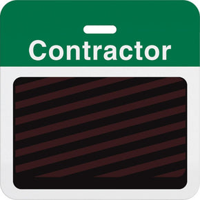 "Slotted expiring badge back with printed green ""CONTRACTOR"" bar - IDenticard.com"