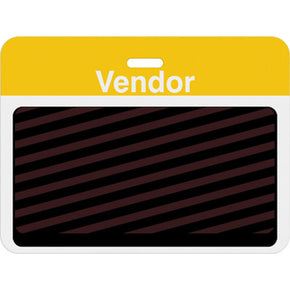 "Large slotted expiring badge back with printed yellow ""VENDOR"" bar"