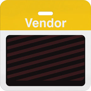 "Slotted expiring badge back with printed yellow ""VENDOR"" bar"