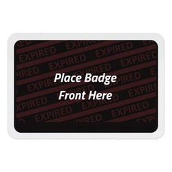 Adhesive expiring badge back with