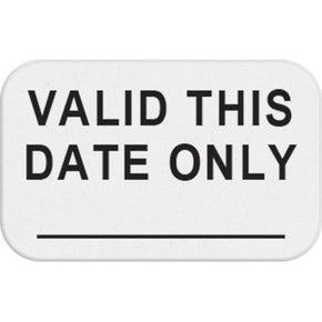 "1-day single-piece adhesive expiring token (handwritten) with printed ""VALID THIS DATE ONLY"" - IDenticard.com"