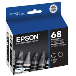 Two-Pack Black Epson 68 High-Capacity Ink Cartridges (Stylus C120) - IDenticard.com