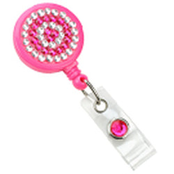 Neon Pink Rhinestone Badge Reel