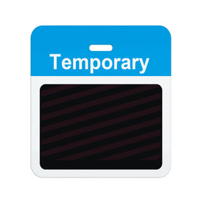 "Slotted expiring badge back with printed process blue ""TEMPORARY"" bar - IDenticard.com"