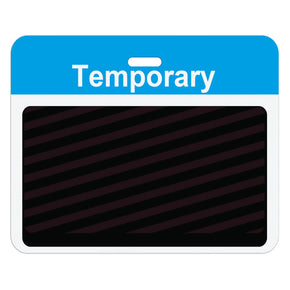 "Large slotted expiring badge back with printed process blue ""VENDOR"" bar"