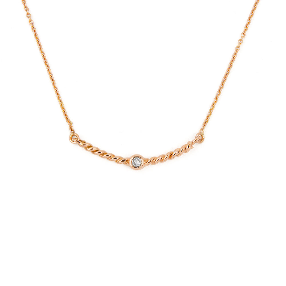 Collier Torsade diamant blanc - Or rose