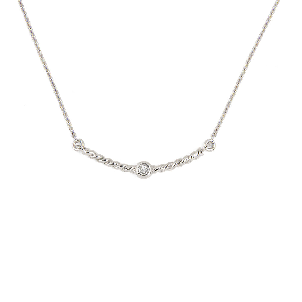 Collier Torsade diamant blanc - Or blanc