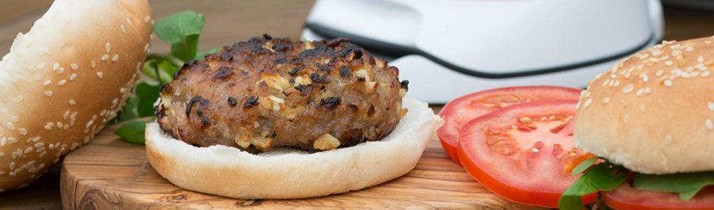 Sausage, Sage and Onion Burgers – with Spiced Apples / Sweet Potato Chips