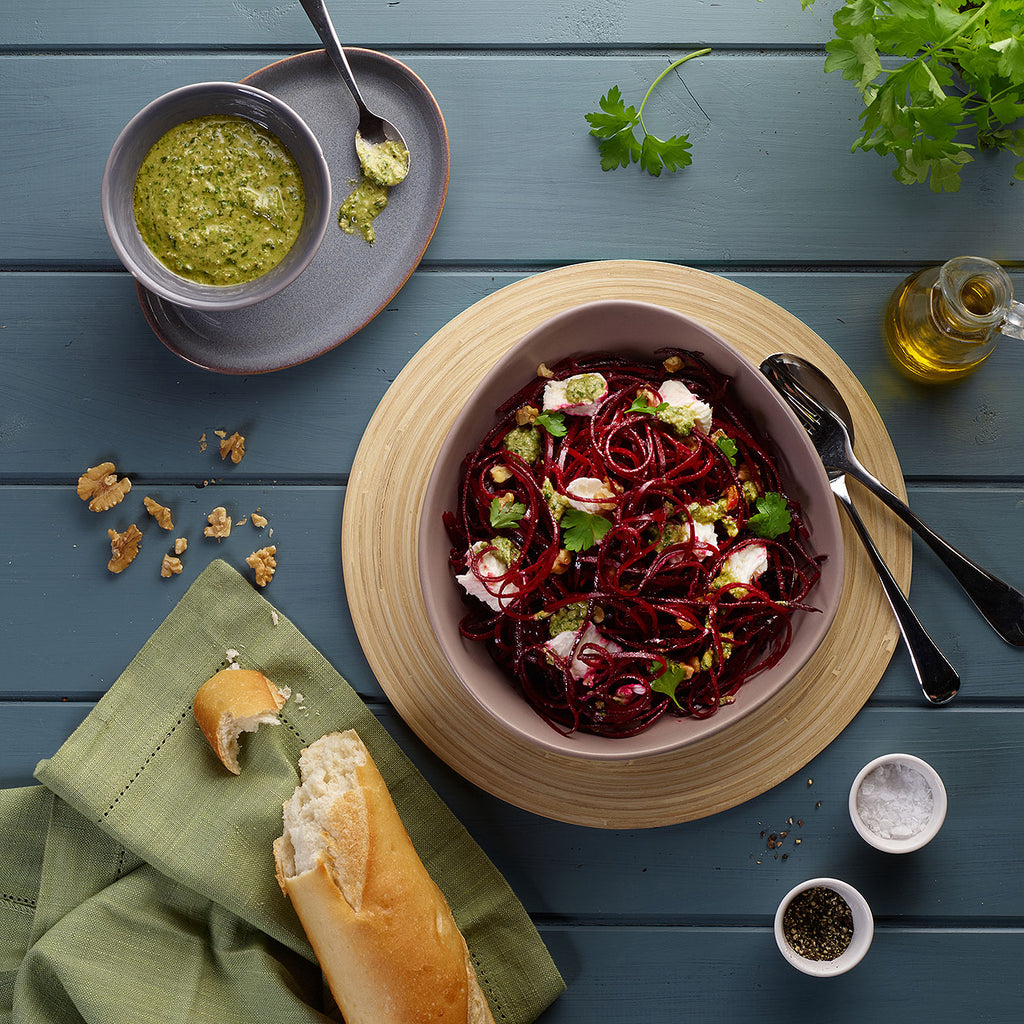 Spiralized Beetroot Salad with parsley pesto & mozzarella