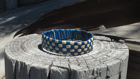 Komore-Flax Woven Bracelet- Light Blue