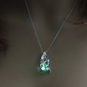 Moon Glowing Necklace Gem Charm.