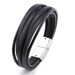 Multilayer Leather Bangles Bracelet.