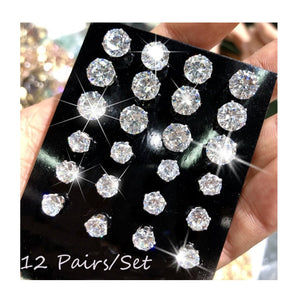 12 Pair/Pack Crystal Stud Earring.