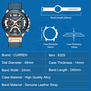 CURREN Luxury Military Leather Casual Watch.
