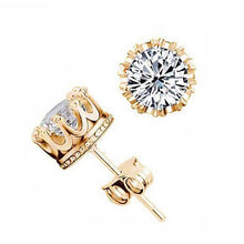 Load image into Gallery viewer, Crown Classic Shining Zircon Small Stud Earring.