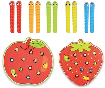 kids Wooden Toys 3D Puzzle Educational Toys Magnetic Strawberry Apple