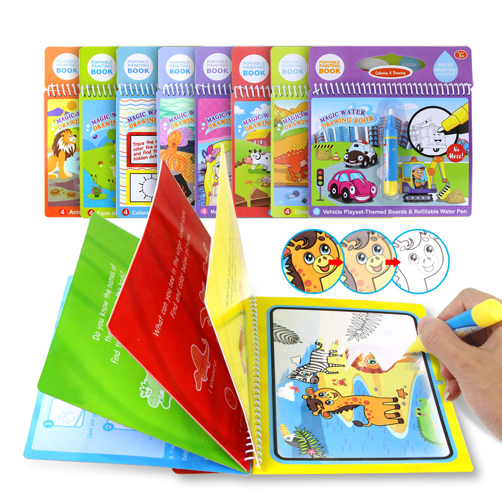 8 styles Magic Water Drawing Book Coloring Pen Drawing Toys For Kids