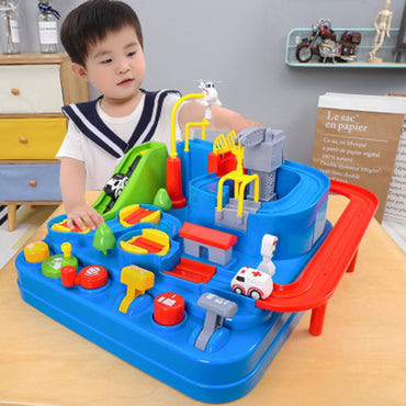 Kids Racing Rail Car Educational Toy Car Adventure Brain Train Game