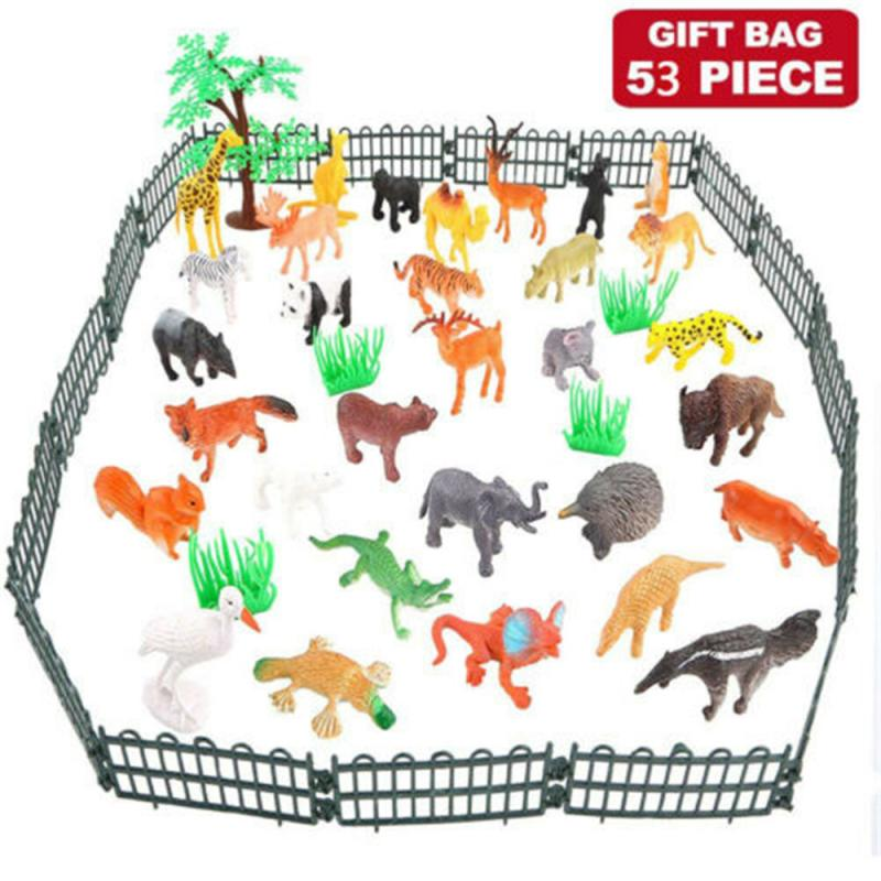 3pcs/set Mini Animal World Zoo Model Figures toy for kids