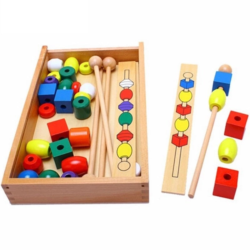 Montessori kids educational wooden colorful shape stick Beading toys