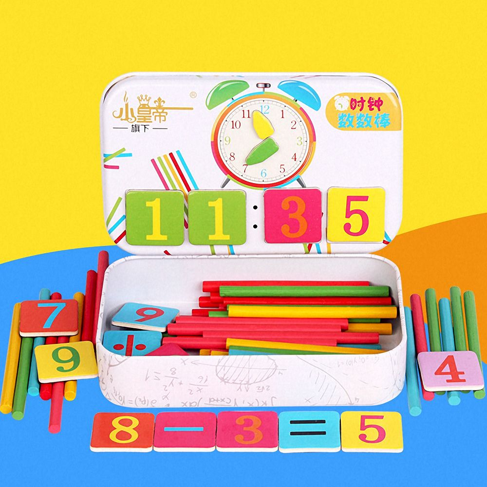 Montessori Magnetic Iron Box Digital Clock number Counting kids toys