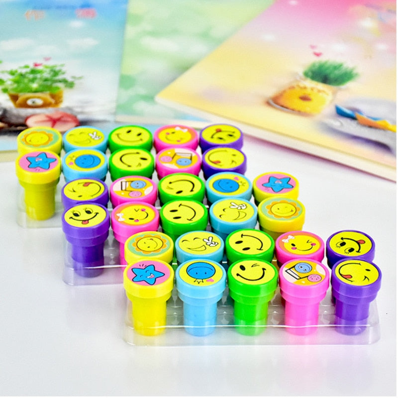 10pcs/Set Toy Stamps Cartoon Smiley Face Kid Seal Scrapbooking Stamper