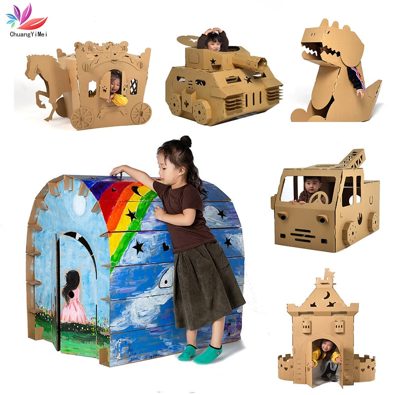 3D DIY Puzzle Graffiti Castle Transport Cartoon House Paper Toy Kids
