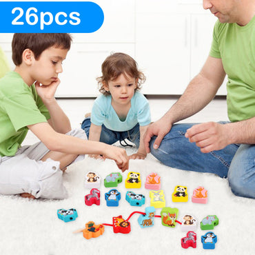 Kids Montessori DIY Colored Wooden Cartoon Animals Shaped Toys