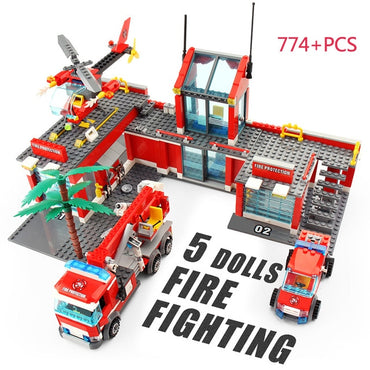 Kids City Fire station Building Block Truck Helicopter firefighter Toy