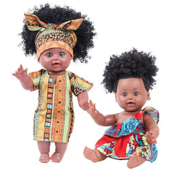 kids African Dolls  toy for Girl Boy Reborn Baby Doll with Curly Hair