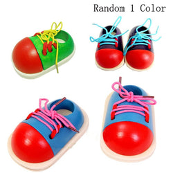 1Pcs Random Kids Montessori Early Educational for   Toys Lacing Shoes