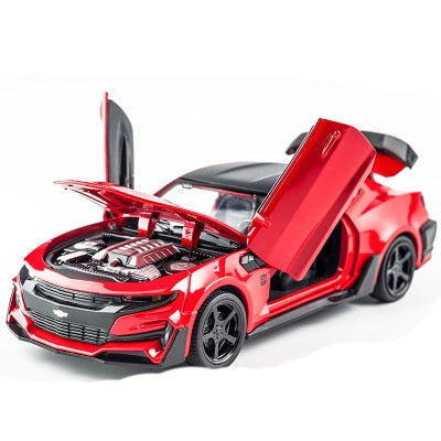 Alloy Diecast Car Chevrolet Camaro Pull Back Sound Light Toy for kids