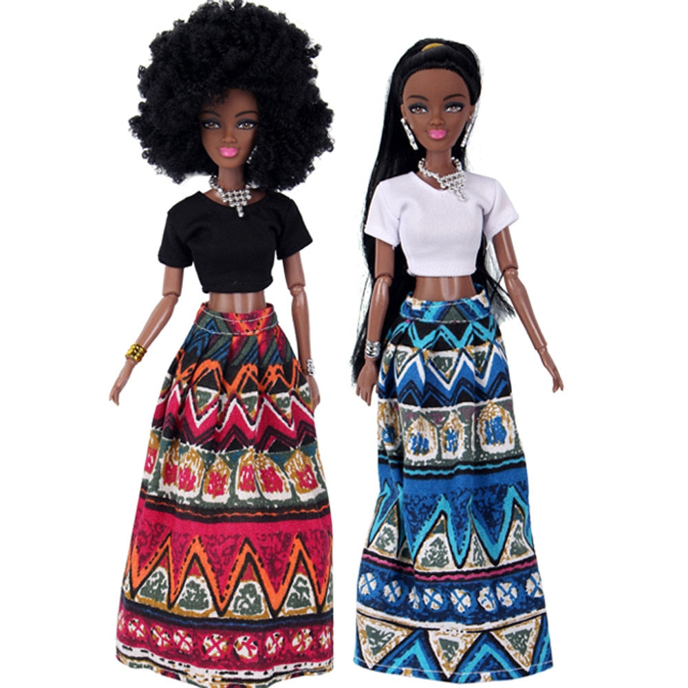 Black Doll Movable Joint African Toy for kids Education Funny Toys