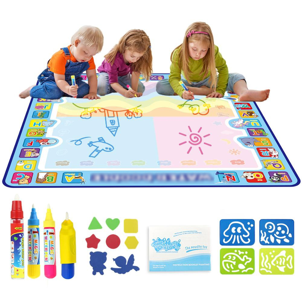 Magic Water Mat Doodle Drawing Pens Stamps Painting Board Toy for Kids