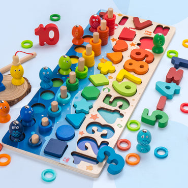 Geometric Shape Cognition Puzzle Kids Math Toys Educational Wooden