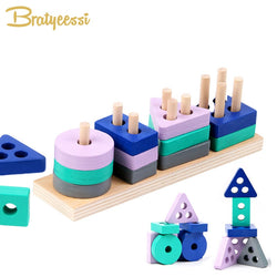 Kids Wooden Montessori Toy Building Blocks early Educational Toy