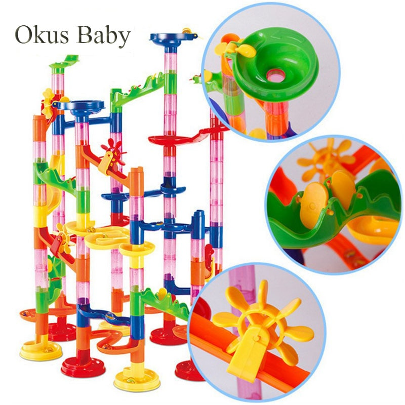 Construction Marble Run Race Track Building toys for kids