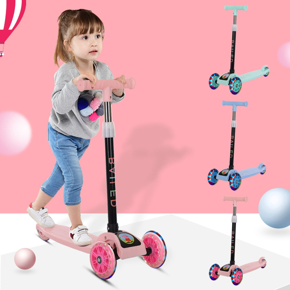 Children Scooter Flash Folding Bicycle Ride Toys.