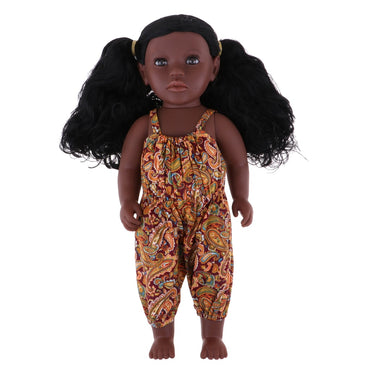 Beautiful Simulation Baby Doll African-American With Curly Long Hair