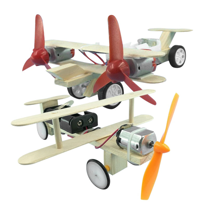 DIY Airplane Kids Wooden Puzzle Helicopter Glider Assembly Kit Science