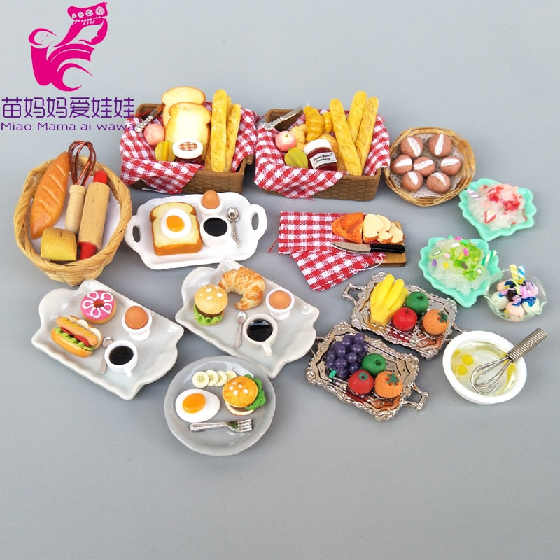 Mini food dollhouse accessories breakfast dinner set kids toy