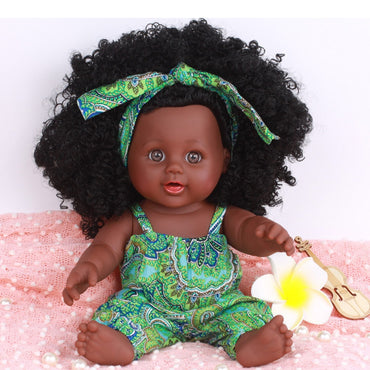 Kids Dolls Black Girl African American Play Simulation Toy