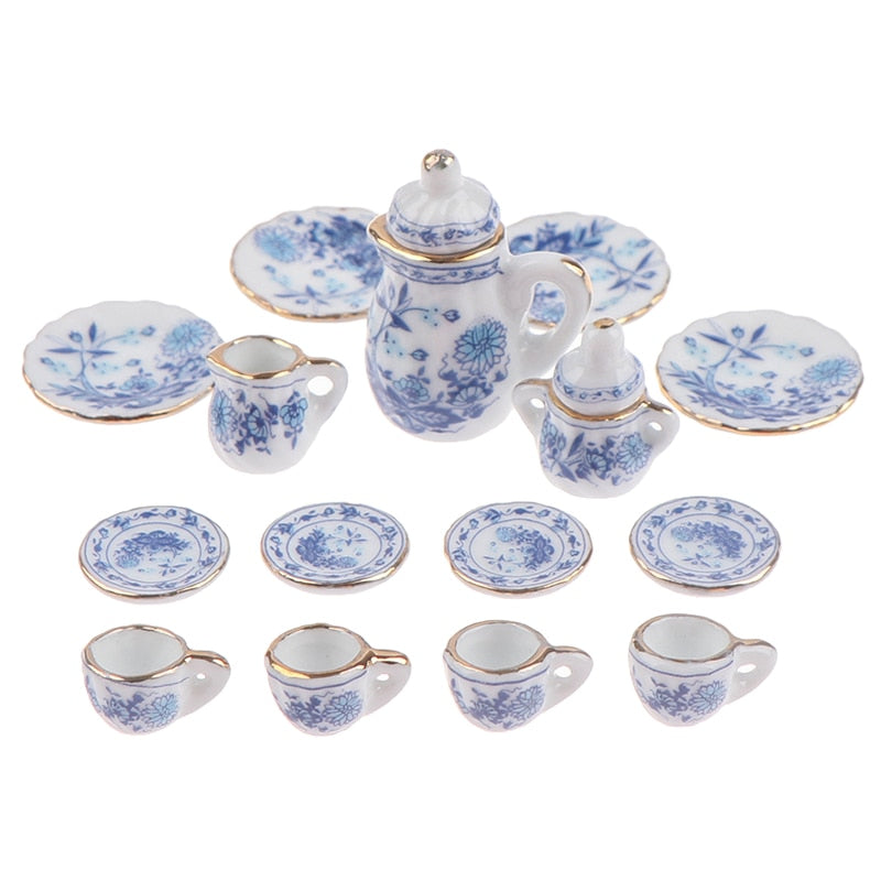 Kids Dollhouse Miniature Tableware Porcelain Ceramic Tea Cup Set toys