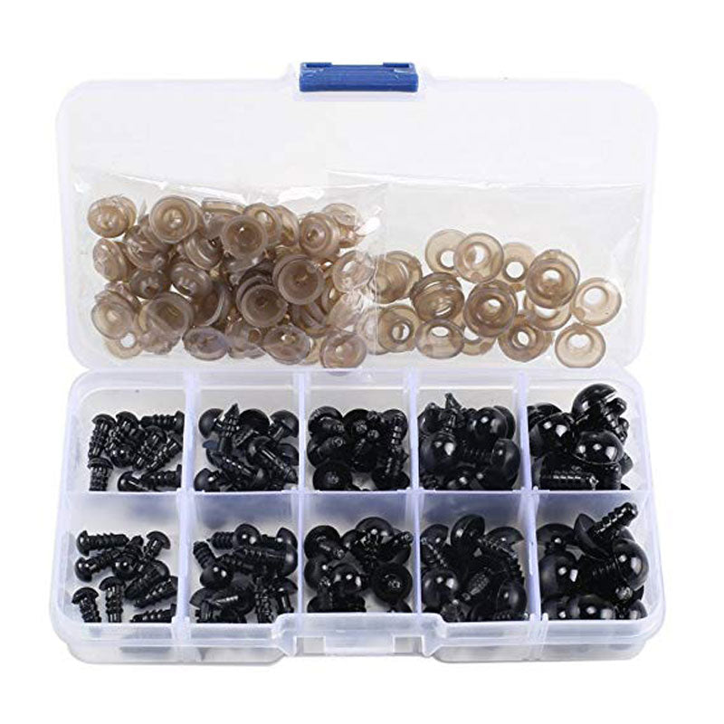 100pcs 6-12mm Black Plastic Craft Safety Eyes for Teddy Bear kids Toy