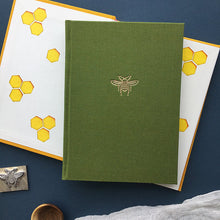 Load image into Gallery viewer, Paperlove Notebook A6 Bee Linen Notebook Green Gift Delivered