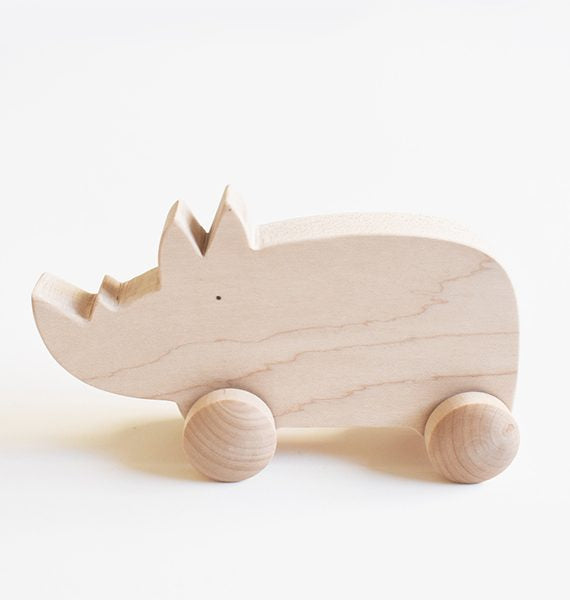Tangerine Studio wooden toy rolling rhinoceros roulant bois naturel Montreal Canada