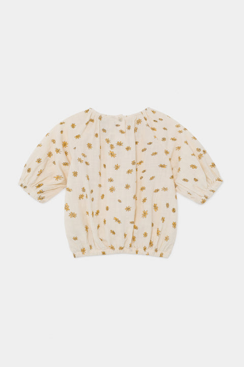 bobo choses ss20 A Dance Romance Daisy peasant Blouse for kids product picture white with yellow floral print BACK 12001058