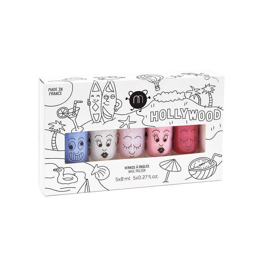 Nailmatic Montreal Canada kids washable nail polish cookie bella polly vernis à ongles lavable pour enfants brillant shiny glittery glitters hollywood set ensemble coffret